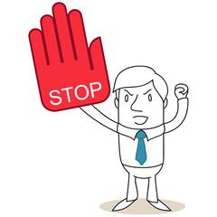 Geschäftsmann, Protest, Stop, Handschuh, Faust