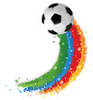 Soccer ball and rainbow trail