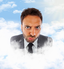 Businessman in the clouds