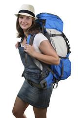 Frau mit Reiserucksack