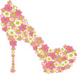 Vector shoe decorated with pink flowers.