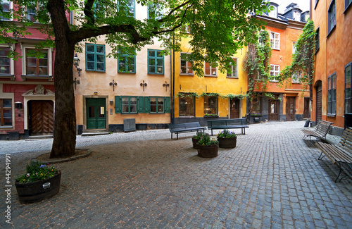 Stockholm Old Town square in summer.