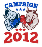 Democrat Donkey Republican Elephant Campaign 2012 poster