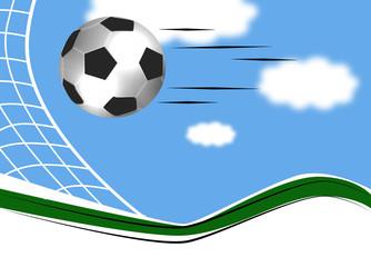 football ball flying across the sky