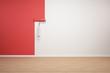 Wand wird rot gestrichen
