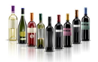 mix bottiglie di vino rosso e bianco