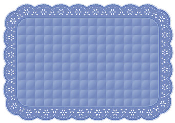 Placemat, Quilted Eyelet Lace Embroidery, pastel blue