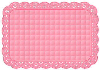 Placemat, Quilted Eyelet Lace Embroidery, pastel pink