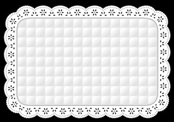 Placemat, Quilted Eyelet Lace Embroidery, white on black