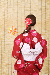 Back view of asian woman in clothes of kimono