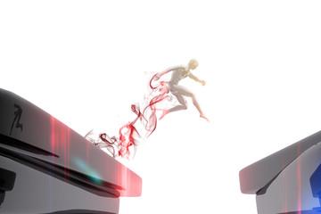 Persona saltando sobre un precipicio