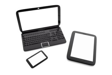 Varios ordenadores y dispositivos digitales