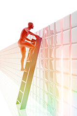 Persona subida a una escalera