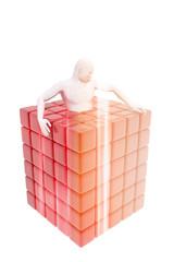 Persona encerrada en un cubo