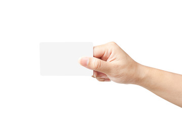 Hand of women holding blank paper label or tag on white backgrou