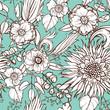 Seamless pattern with poppy seeds and sunflower
