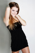 young happy woman in black dress