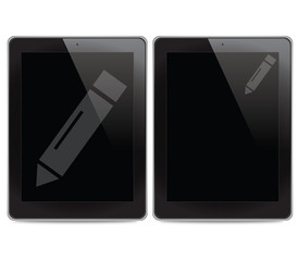 Pencil icon on tablet computer background