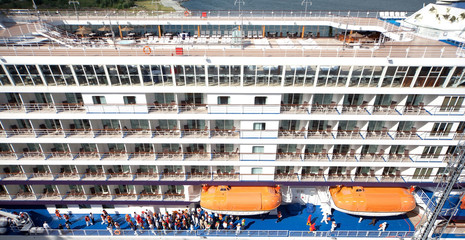 People on board ship at port in Copenhagen,  view from above