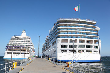 two ships in pier of Tallinn,sunny