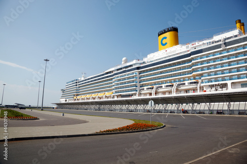 Cruise ship  docked at port