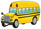 Funny school bus. Cartoon vector isolated character.