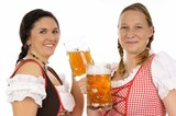 Two young pretty women in dirndl with beer mug