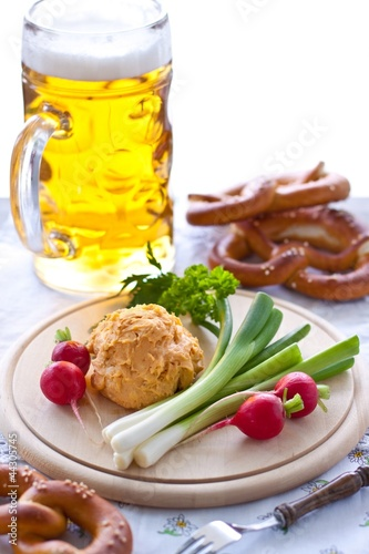 Obatzda cheese with pretzel and beer
