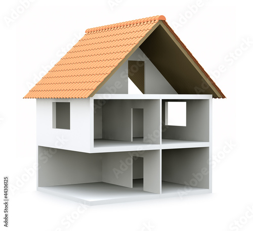 canvas print picture 3D house cross section