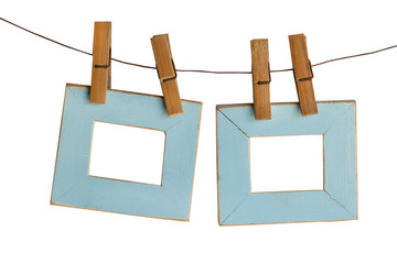 blue photo Frames Hanging Isolated on White background