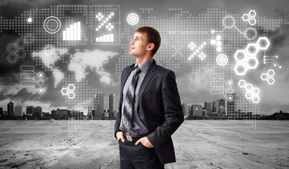 Business person with digital symbols