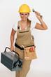 Handwerkerin mit Werkzeugkiste