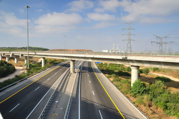 View of landscape with two way highway.  Central Israel