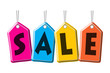 SALE, Colourful hanging sales tags