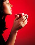 Beautiful lady drinking coffee