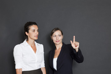 Future business solutions businesswomen in interface