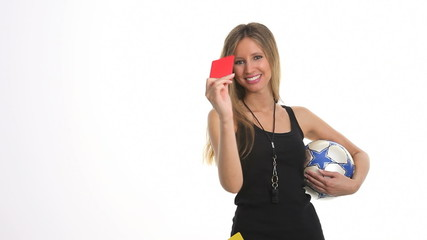 referee with red card and ball soccer