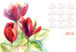 Watercolor calendar with green leaves and Tulips flower