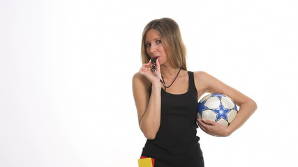 referee with yellow card and ball soccer
