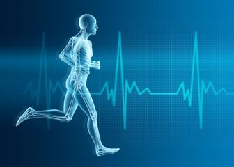 Laufender Mann Silhouette mit Skelett und Herzschlag