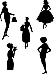 retro fashions silhouettes