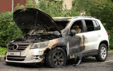 street crime set on fire car Volkswagen