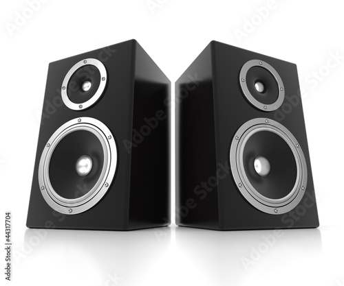 Two 3d speakers isolated on white background