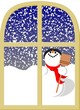 Snowman and window