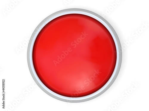 3d red button isolated on white background