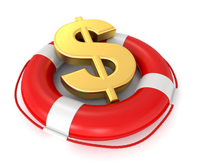 3d lifebuoy with dollar sign