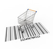 3d concept - shopping cart on bar code
