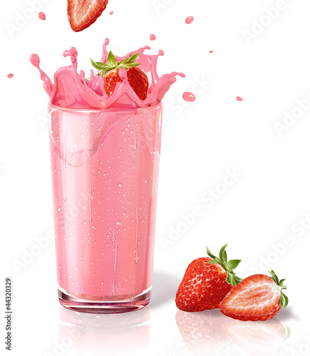 Leinwandbild Motiv Strawberries splashing into a milkshake glass, with two others o
