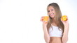 girl drinking a juice of orange