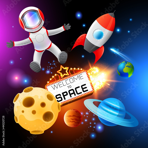 Foto Spatwand Kosmos Vector Space Elements